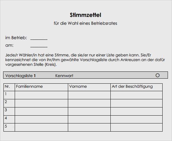 Stimmzettel Vorlage Word