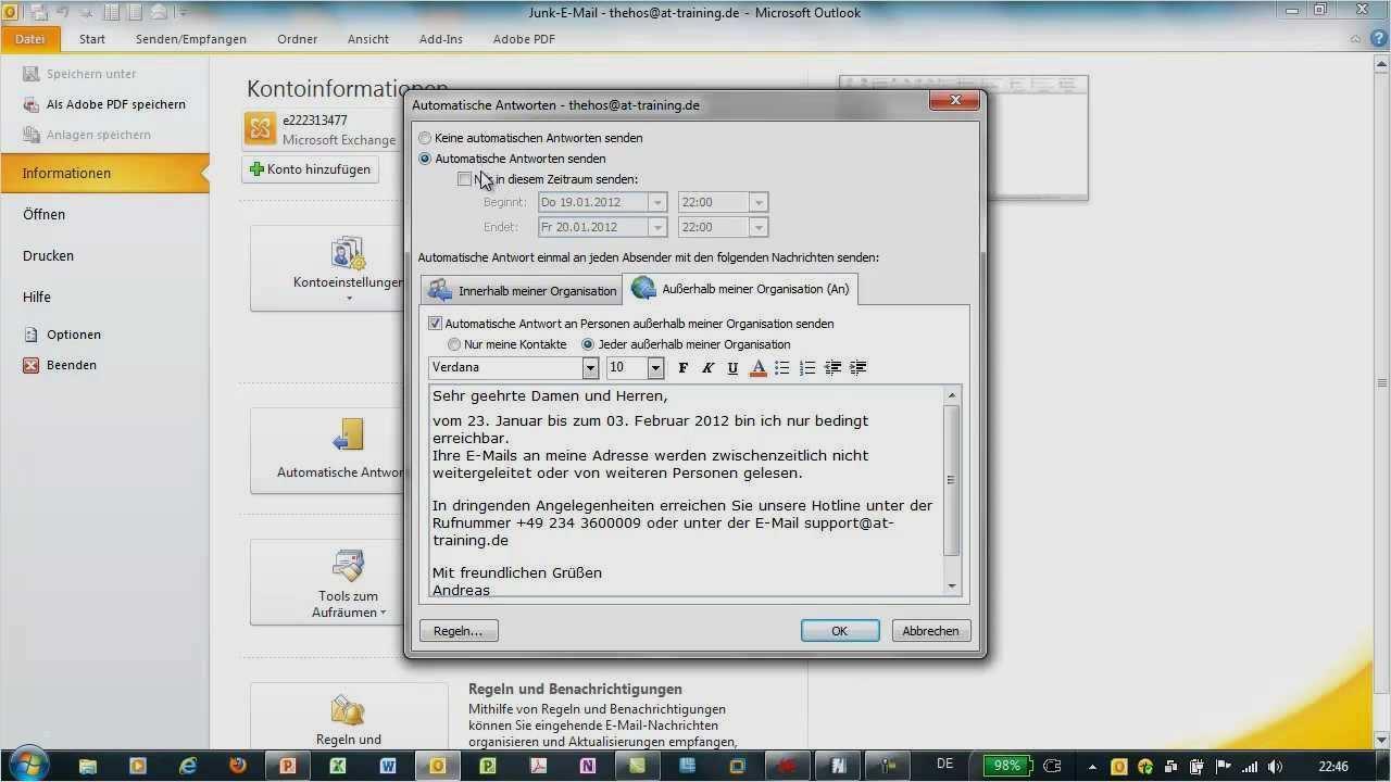 Windows 10 Antwortdatei Vorlage Luxus Outlook 2010